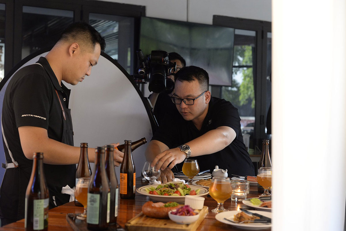 Behind the scenes on a commercial photoshoot at a restaurant